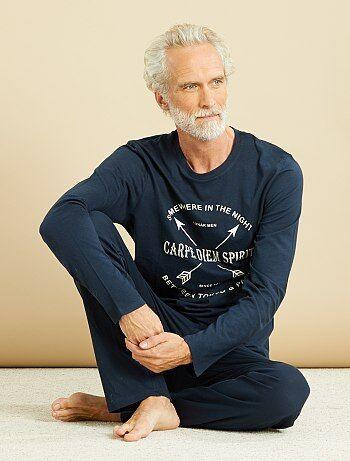Pyjama long coton imprimé                      bleu marine Homme