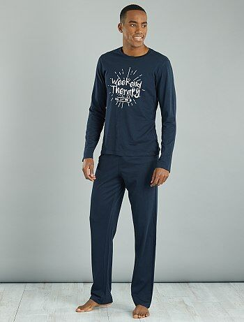 Pyjama long coton imprimé - Kiabi