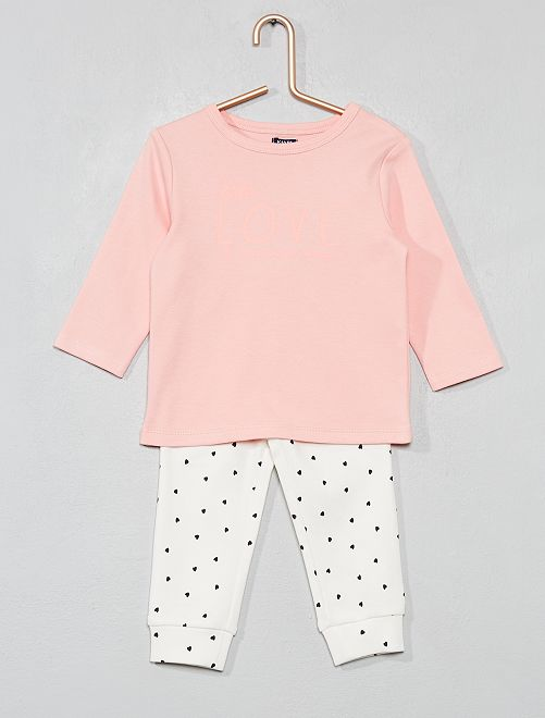 Pyjama long en coton bio                             rose/ecru message Bébé fille