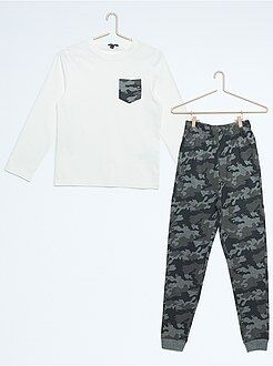 Garçon 10-18 ans Pyjama long imprimé camouflage
