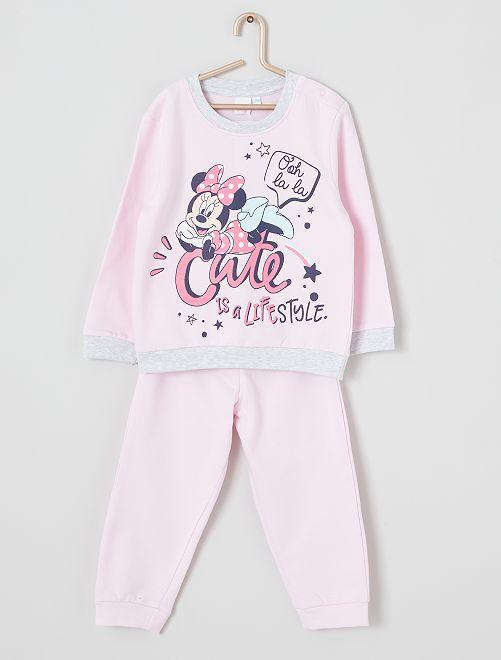 Pyjama long 'Minnie'                             rose/gris