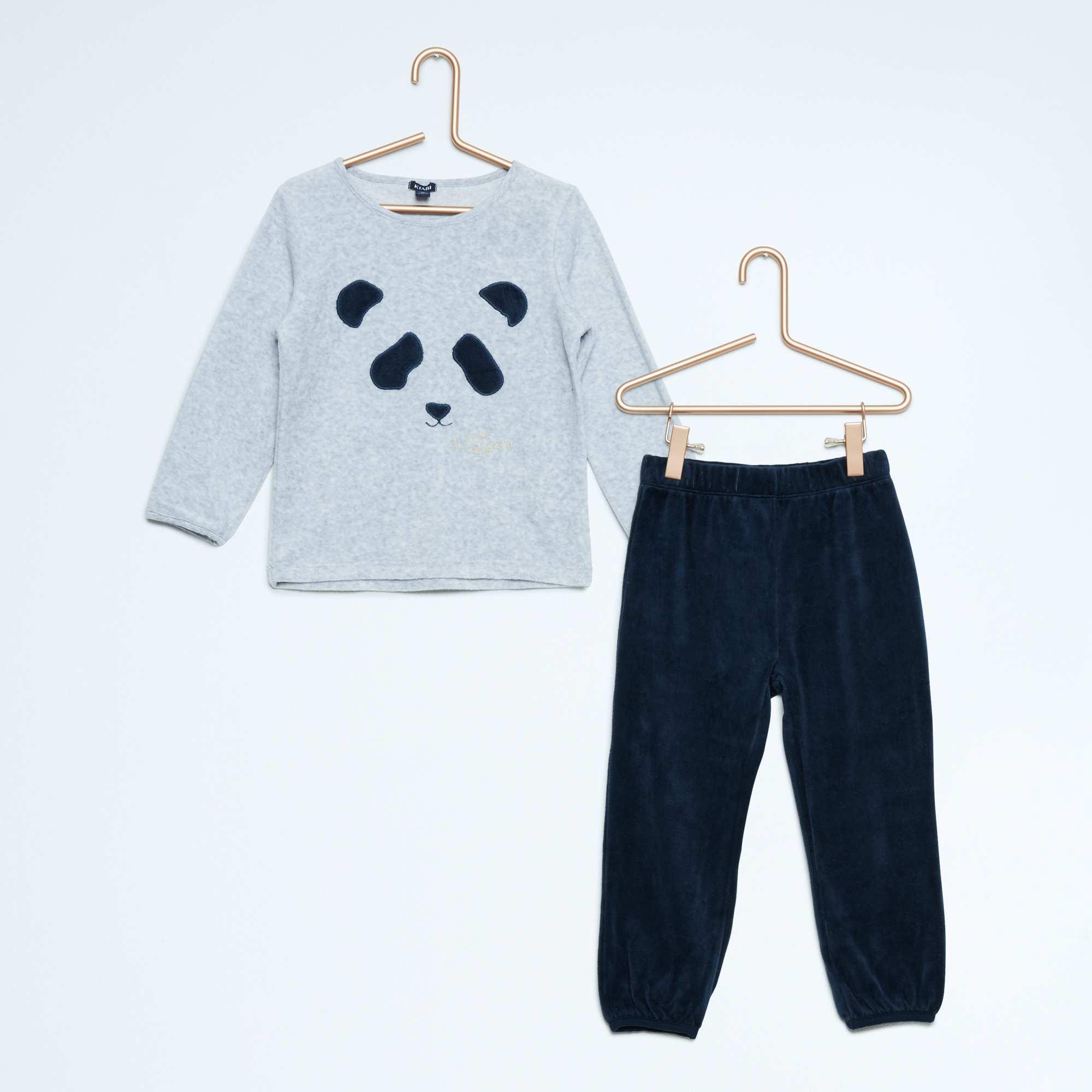 pyjama long velours imprim 39 paris 39 fille gris chin. Black Bedroom Furniture Sets. Home Design Ideas