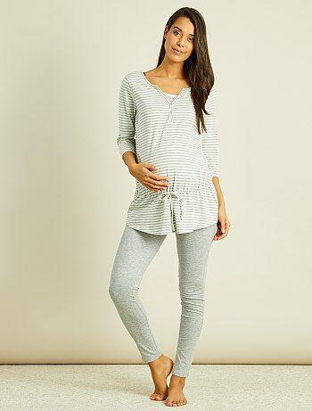 Femme du 34 au 48 - Pyjama maternité brassière d'allaitement intégrée - Kiabi