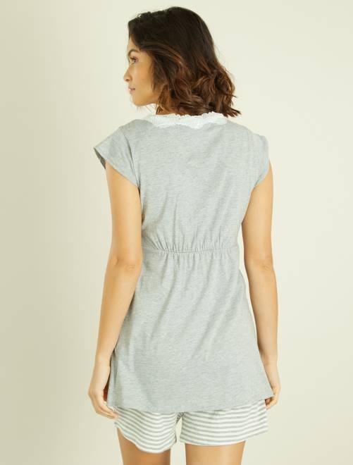 pyjama maternit brassi re d 39 allaitement int gr e femme blanc kiabi 16 00. Black Bedroom Furniture Sets. Home Design Ideas