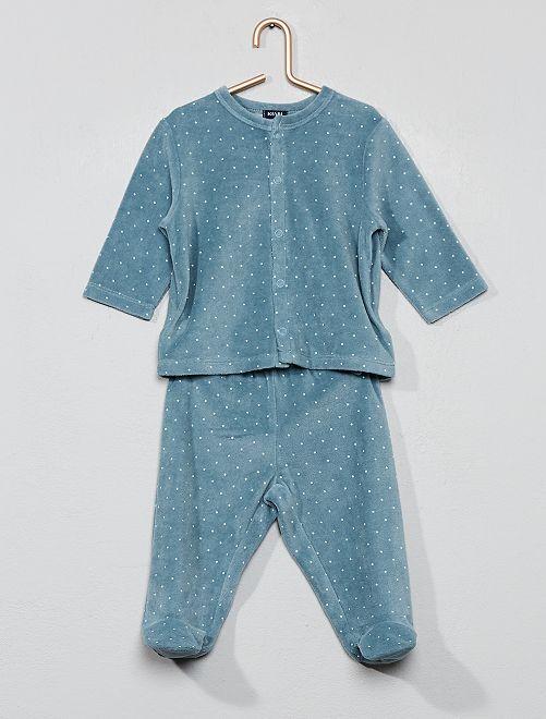 Pyjama velours 'éco-conception'                                 bleu vert