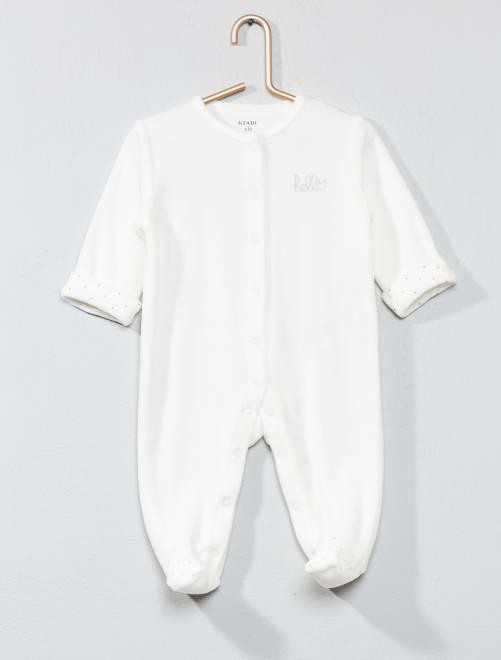 Pyjama velours 'éco-conception'                                             écru