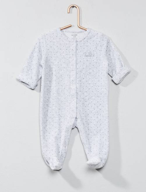 Pyjama velours 'éco-conception'                                                                 gris