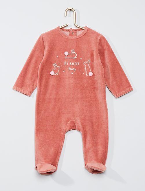 Pyjama velours                                                                                                     rose lapin