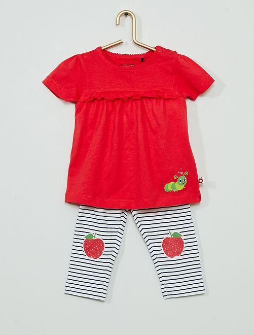 Robe avec body intégré + legging                             rouge/blanc