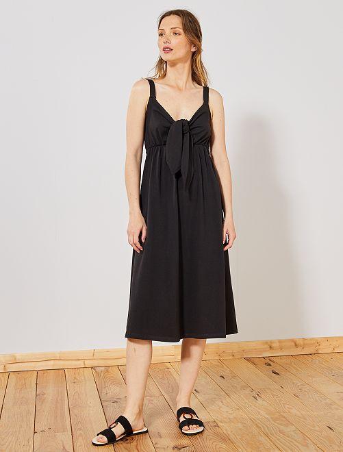 Robe avec nœud sur poitrine                                                                 noir Femme