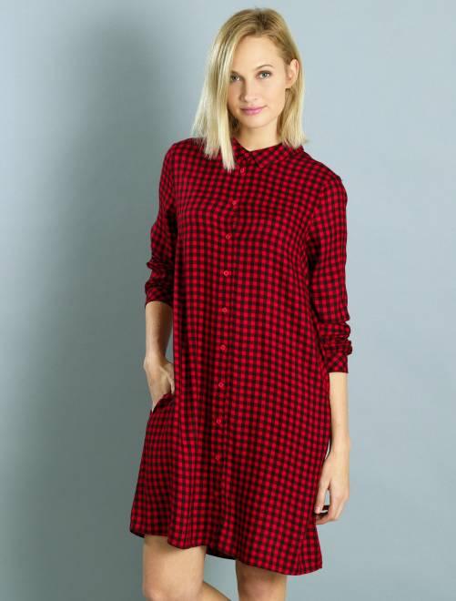 robe chemise carreaux femme kiabi 18 00. Black Bedroom Furniture Sets. Home Design Ideas