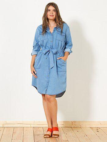 Robe chemise en denim - Kiabi