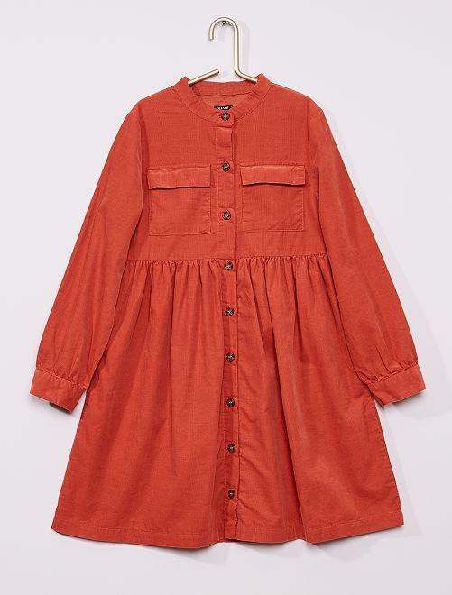 Robe chemise en velours                                                                             orange rouille
