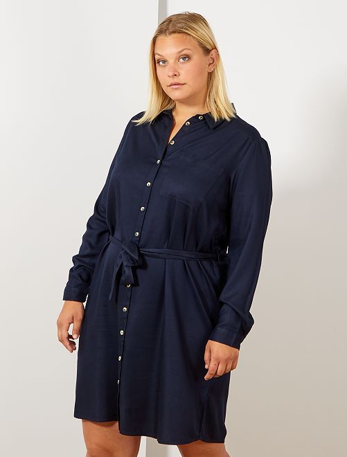 Robe chemise fluide                                                                 bleu marine Grande taille femme