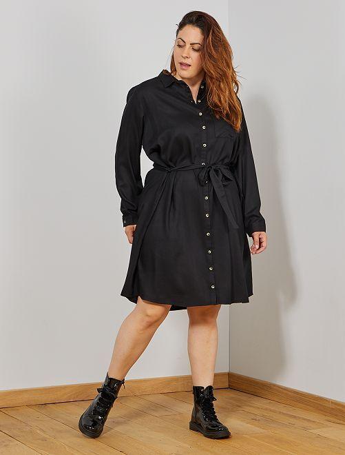 Robe chemise fluide                                                                 noir Grande taille femme