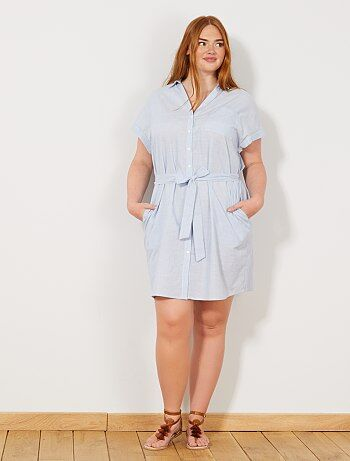7036ca4425f Grande taille femme - Robe chemise rayée - Kiabi
