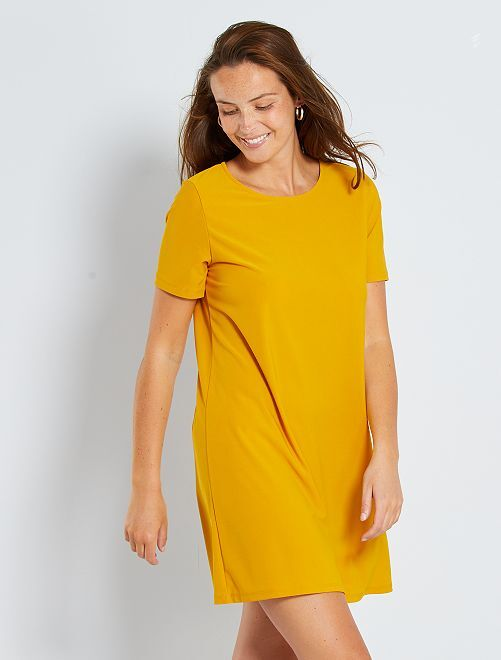 Robe courte éco-conçu                             jaune bronze