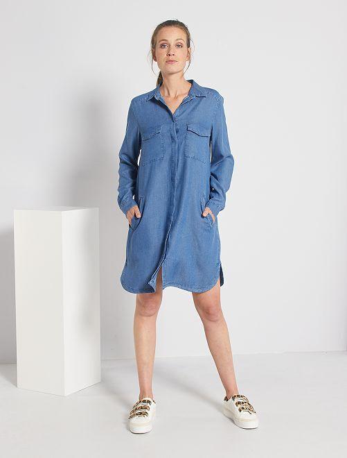 Robe courte forme chemise                                                                 bleu