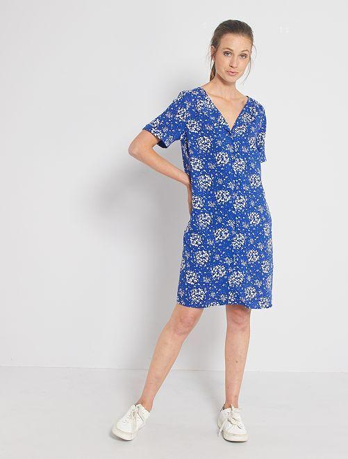 Robe courte forme chemise                                                                                                     bleu fleuri