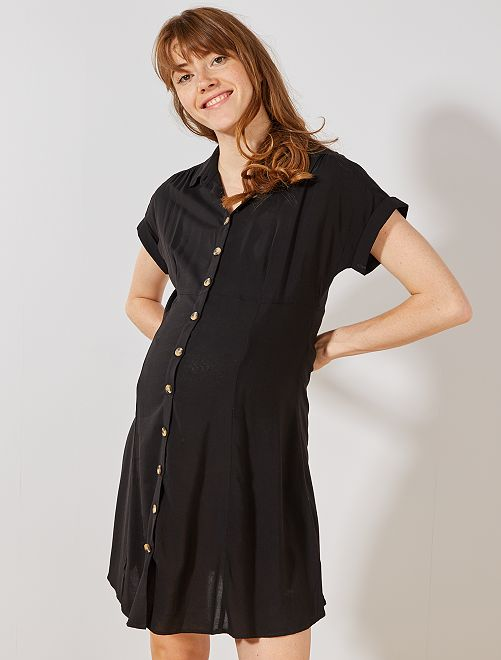 Robe de maternité boutonnée                                         noir