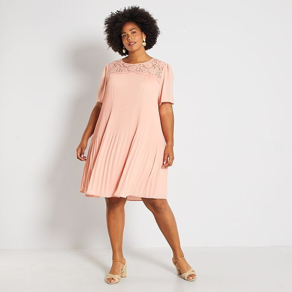 Robe Dentelle Et Plis Grande Taille Femme Rose Pale Kiabi 25 00