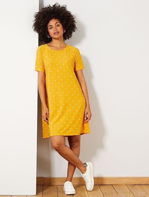 Robe droite à pois                                         jaune Femme