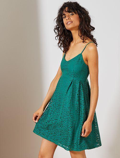 Robe en dentelle                                                     vert Femme