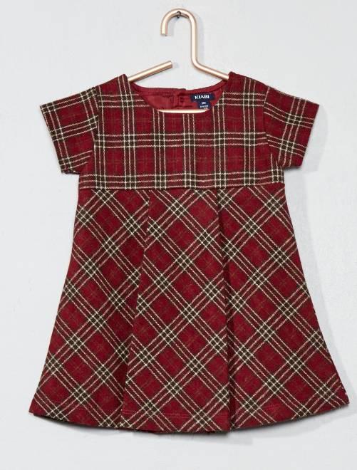 robe en lainage carreaux b b fille rouge kiabi 16 00. Black Bedroom Furniture Sets. Home Design Ideas