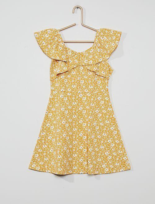 Robe en maille jersey col bardot                                                                 jaune fleurs