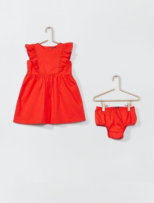 Robe en popeline + culotte                             rouge