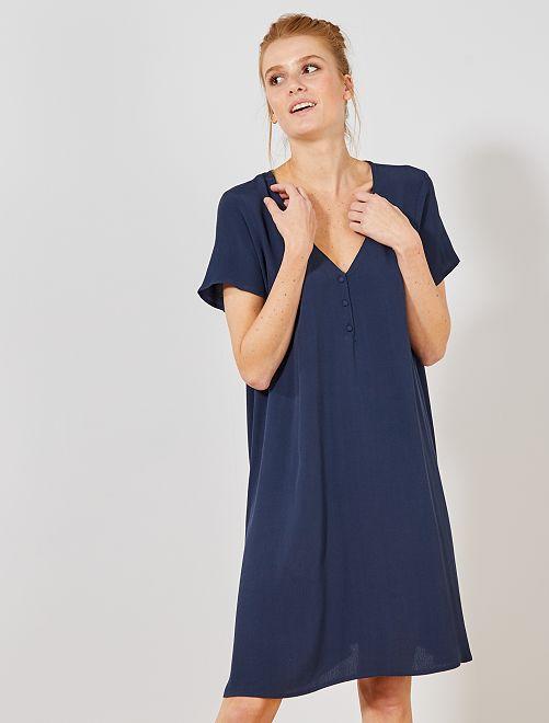 Robe en tissu crêpé                                 bleu marine Femme