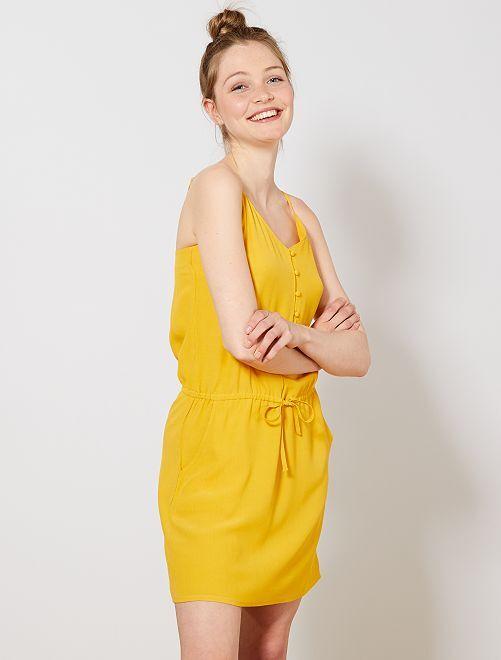 Robe fluide à fines bretelles réglables                                             jaune Femme