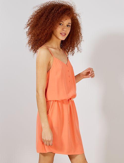 f674caf9d1f Robe fluide à fines bretelles réglables Femme - orange corail ...