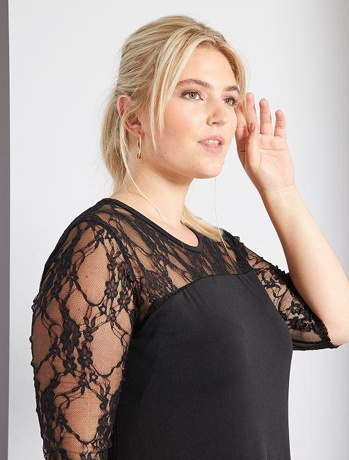 robe fluide manches en dentelle grande taille femme noir kiabi 20 00. Black Bedroom Furniture Sets. Home Design Ideas