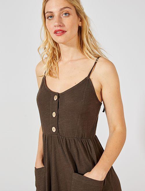 Robe longue boutonnée                                         marron Femme