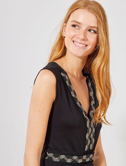 Robe longue stretch bijoux                                                     noir Femme