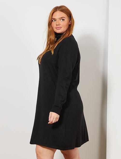 robe pull col roul grande taille femme noir kiabi. Black Bedroom Furniture Sets. Home Design Ideas