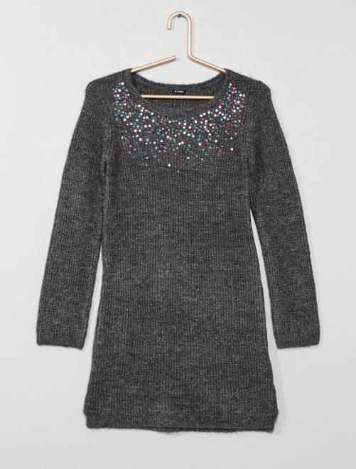 robe pull en maille c tel e fille gris fonc kiabi 14 00. Black Bedroom Furniture Sets. Home Design Ideas