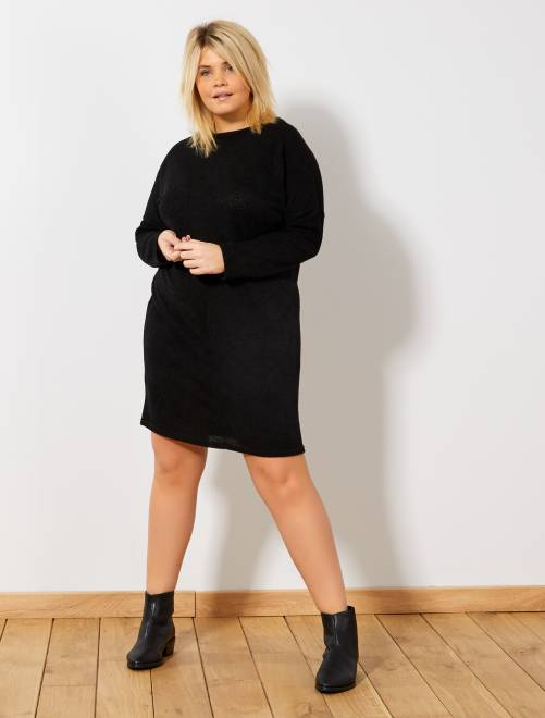 robe pull manches raglantes grande taille femme noir kiabi 22 00. Black Bedroom Furniture Sets. Home Design Ideas
