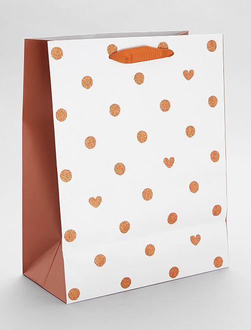 Sac cadeau motif à pois et cœurs                             orange