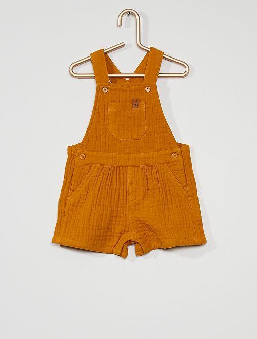 Salopette éco-conçu en maille gaufrée                             jaune
