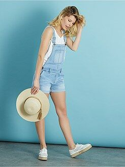 Denim - Salopette short en denim