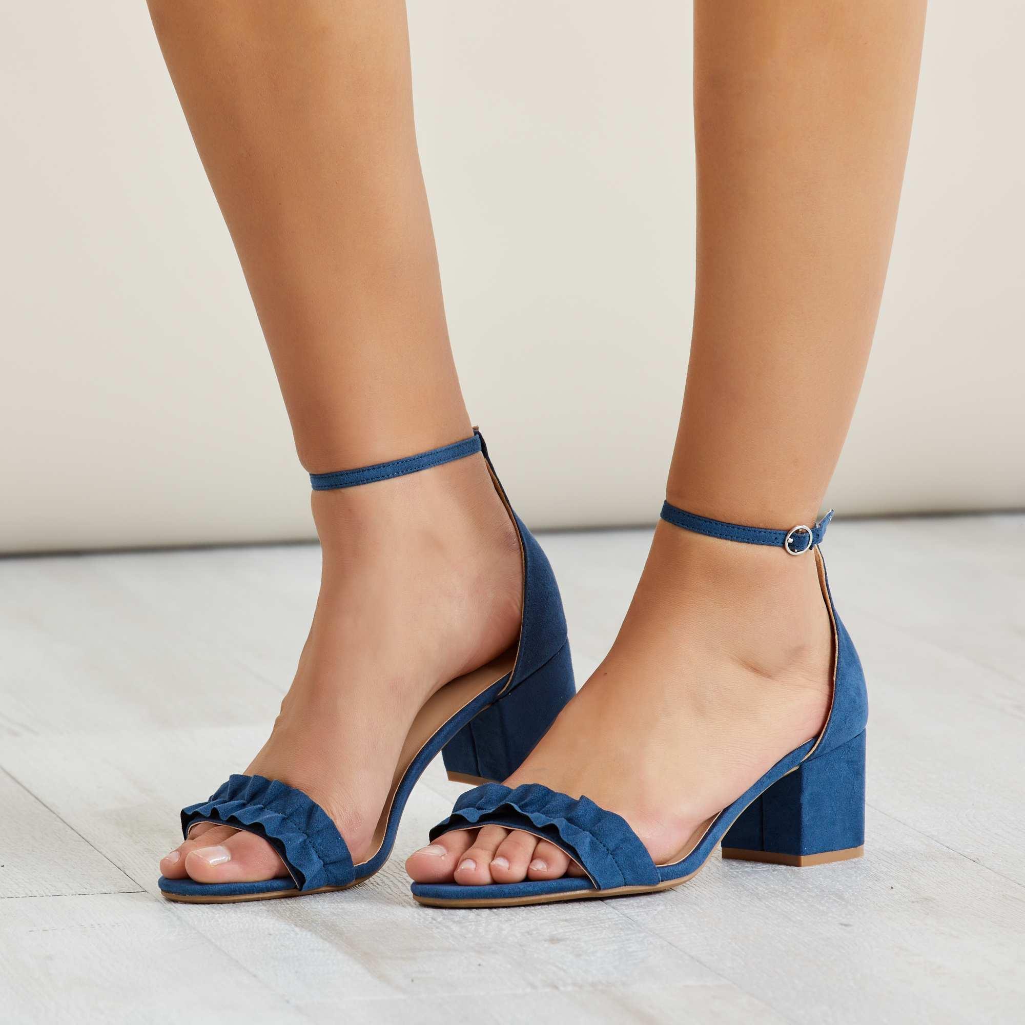 sandales talons en su dine femme bleu navy kiabi 14 00. Black Bedroom Furniture Sets. Home Design Ideas