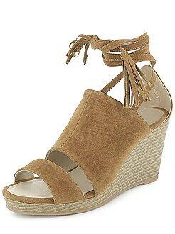 Chaussures compensées - Sandales compensées en suédine