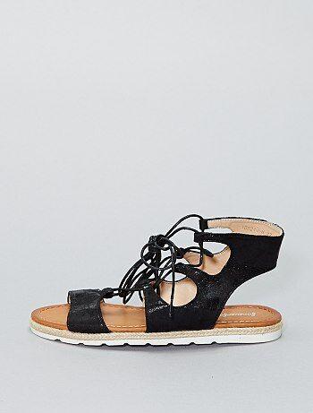 Sandales plates en simili irisé - Kiabi
