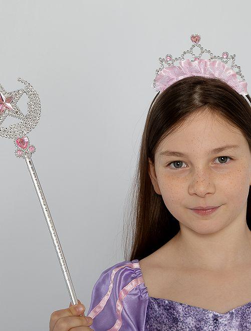 Set diadème + baguette princesse                             argenté/rose