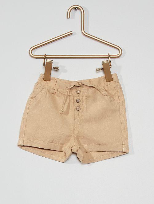 Short en lin éco-conçu                                                                             beige