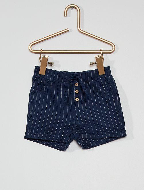 Short en lin éco-conçu                                                                                         bleu