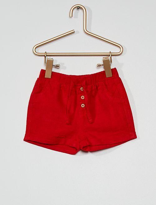 Short en lin éco-conçu                                                                                         rouge