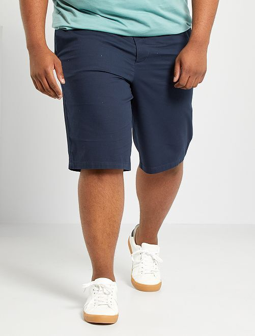 Short en piqué de coton                             bleu marine